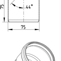 Køb Blucher Metal bøjning 45° 75 mm rustfri | 160205075