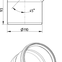 Køb Blucher Metal bøjning 45° 110 mm rustfri | 160205110