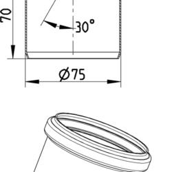 Køb Blucher Metal bøjning 30° 75 mm rustfri | 160207075