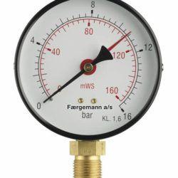 Køb Manometer 1/2XØ100 0-16 bar/0-160 MVS