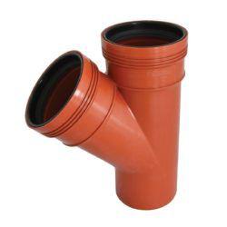 Køb Wavin kloak grenrør PP rød 110 x 110 mm 45°   191641110