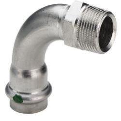 """Køb Sanpress Inox overgangsbøjning 90° muffe/nippel 18 mm x 34"""" rustfrit stål   035706232"""