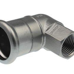 Køb VSH bøjning 90° muffe/muffe 35 mm X 11/4 syrefast   034668035