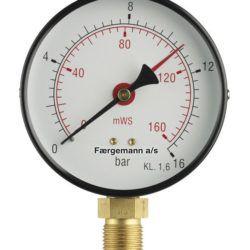 Køb Manometer 1/2XØ100 0-1 bar/0-10 MVS