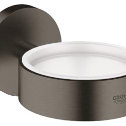 Køb GROHE Essentials holder til glas og sæbedispenser børstet grafit | 774373159