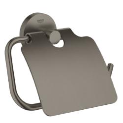 Køb GROHE Essentials toiletrulleholder med låg børstet grafit | 776454159