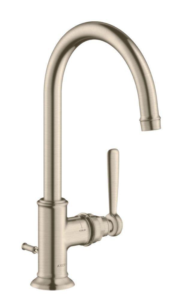 Køb AXOR Montreux håndvaskarmatur 210 med løft-op ventil børstet nikkel   702091519