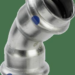 Køb Viega Sanpress Inox LF bøjning 45° muffe/muffe 28 mm | 980418367